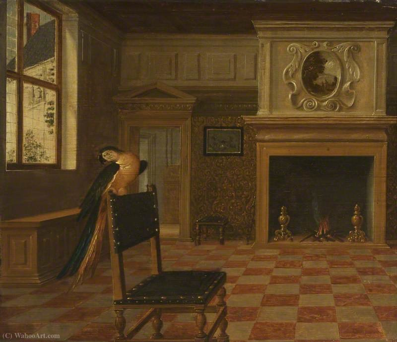 Interior of a House with a Macaw on a Chair by Hendrick Van The Younger Steenwyck (1580-1649, Belgium)