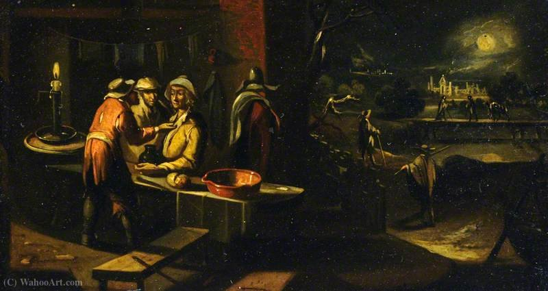 Three Figures Conversing in a Moonlit Castle by Hendrick Van The Younger Steenwyck (1580-1649, Belgium) | Oil Painting | ArtsDot.com