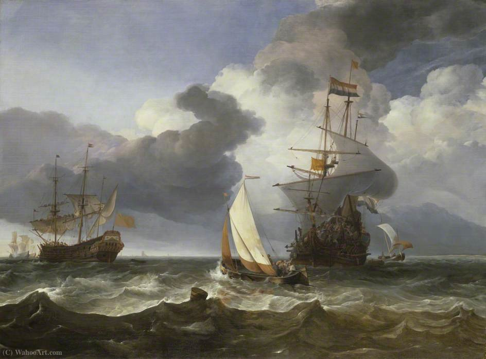 A Smalschip with Two Dutch East Indiamen Coming to Anchor by Hendrik Jakobsz Dubbels (1621-1707, Netherlands)