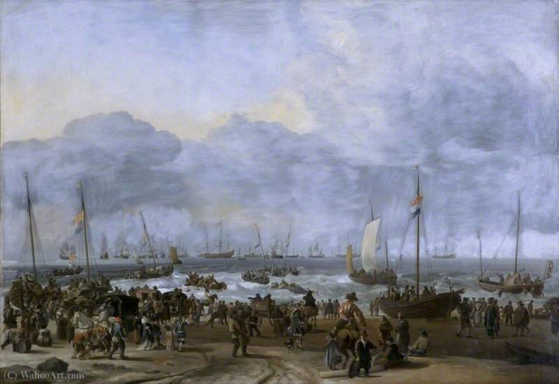 An embarkation scene by Hendrik Jakobsz Dubbels (1621-1707, Netherlands)