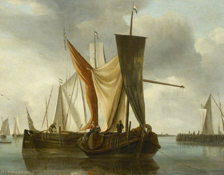 Dutch Fishing Boats Becalmed near a Jetty by Hendrik Jakobsz Dubbels (1621-1707, Netherlands)