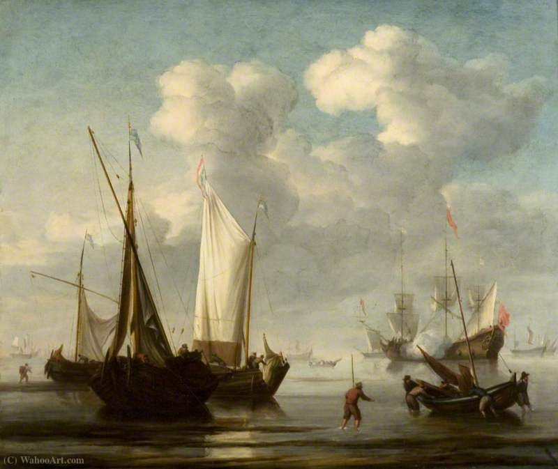 Fishing Vessels off a Beach, with a Man-of-War at Anchor by Hendrik Jakobsz Dubbels (1621-1707, Netherlands)