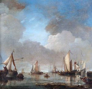 Hendrik Jakobsz Dubbels - Large Ships and Boats in a Cal..