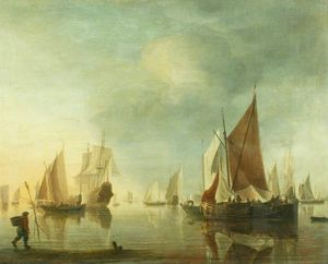 Hendrik Jakobsz Dubbels - Shipping at Anchor off the Sho..
