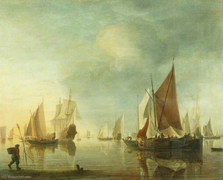 Shipping at Anchor off the Shore in a Calm Sea by Hendrik Jakobsz Dubbels (1621-1707, Netherlands)