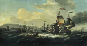 Hendrik Van Minderhout - A Battle between the Dutch and Barbary Pirates near the Coast