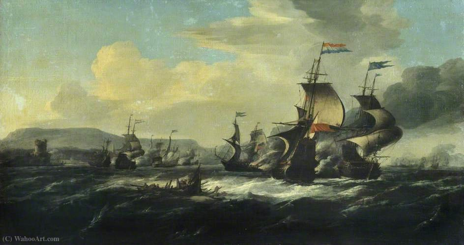 A Battle between the Dutch and Barbary Pirates near the Coast by Hendrik Van Minderhout (1632-1696, Netherlands)