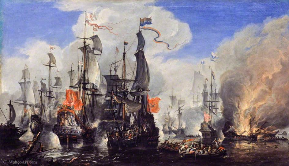 An Engagement Between the English and the Dutch Fleets by Hendrik Van Minderhout (1632-1696, Netherlands) | Museum Art Reproductions | ArtsDot.com