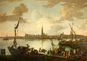 Hendrik Van Minderhout - Antwerp from across the Scheld..