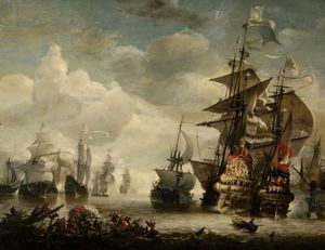 Hendrik Van Minderhout - Capture of the Royal Prince by Admiral de Ruyter in (1666)