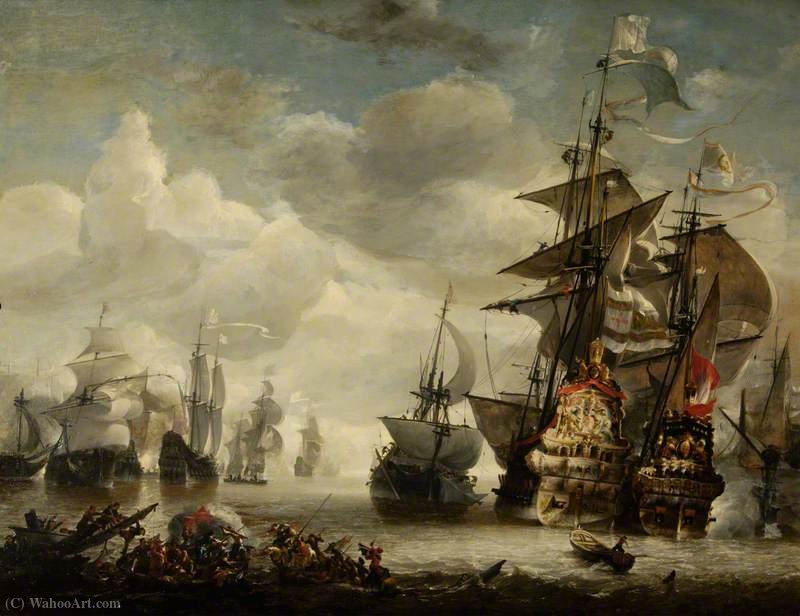 Capture of the Royal Prince by Admiral de Ruyter in  (buy Fine Art Framed Print Hendrik Van Minderhout)
