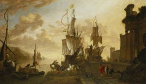 Hendrik Van Minderhout - Italianate Harbour Scene with the Monument of Ferdinand I de' Medici at Leghorn