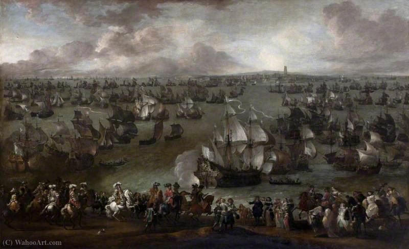 Louis XIV (1638–1715), King of France, Reviewing His Fleet at Dunkirk, Met by Representatives of the City by Hendrik Van Minderhout (1632-1696, Netherlands)