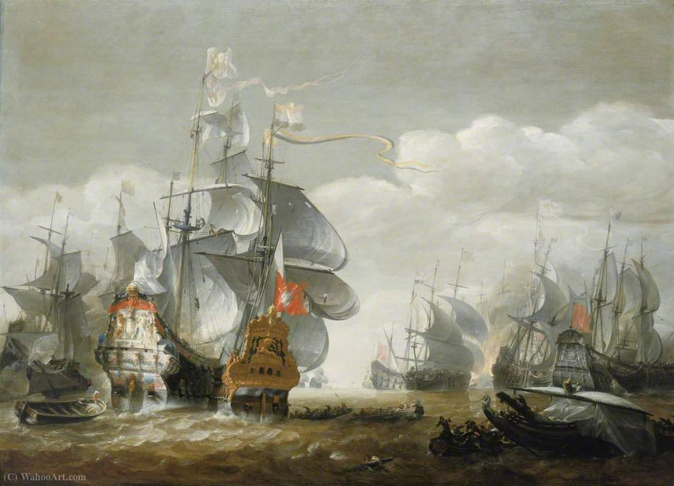 The Battle of Lowestoft, 3 June Showing HMS 'Royal Charles' and the 'Eendracht' (1665) by Hendrik Van Minderhout (1632-1696, Netherlands)