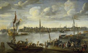 Hendrik Van Minderhout - View of the Roads of Antwerp from the West Bank