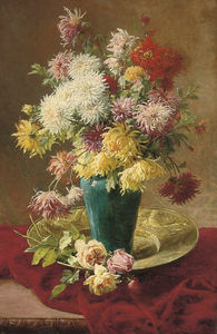 Henri Biva - Chrysanthemums and roses in a ..