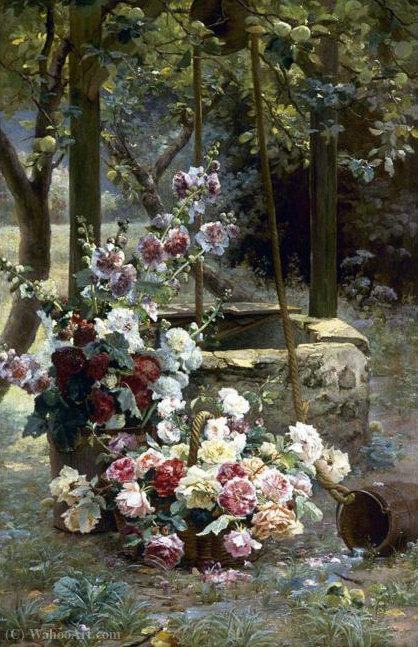 Flowers near a well by Henri Biva (1848-1929, France)