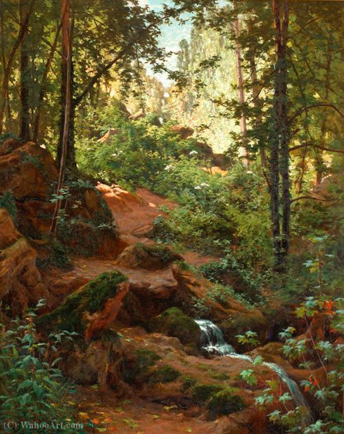 Woodland interior with brook by Henri Biva (1848-1929, France)