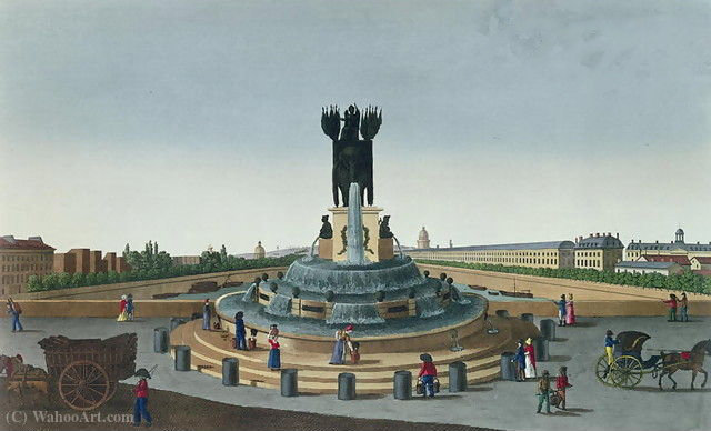 The Elephant Fountain at the Place de la Bastille, c.1815 - (20) by Henri Courvoisier Voisin (1757-1830, France)