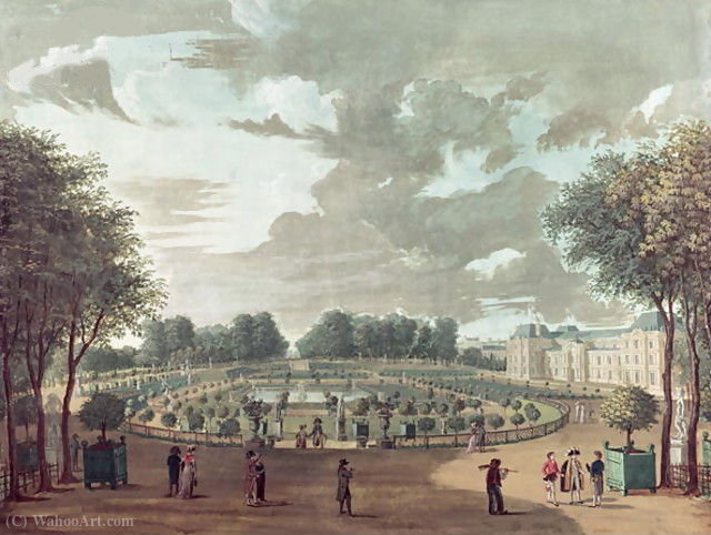 The luxembourg gardens by Henri Courvoisier Voisin (1757-1830, France)