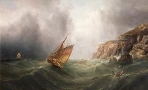 Henry Redmore - A Coastal Scene with a Cl..