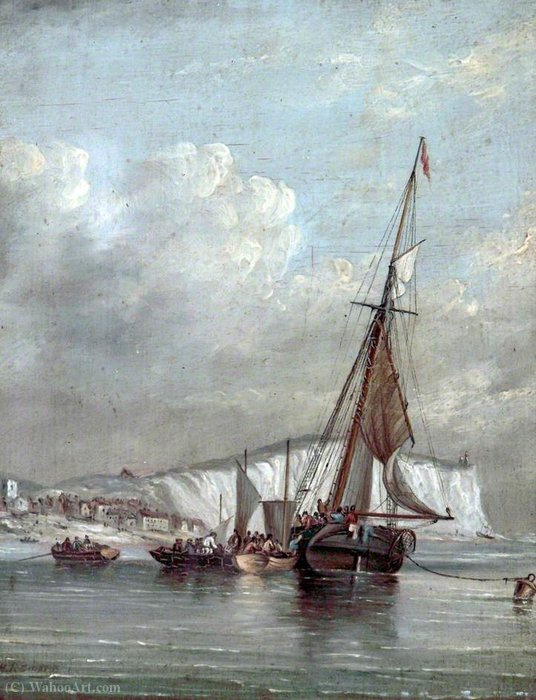 Order Art Reproduction : Fishing Boats with White Cliffs by Henry Redmore (1820-1887, United Kingdom) | ArtsDot.com
