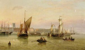 Henry Redmore - Hull Pier from the Humber
