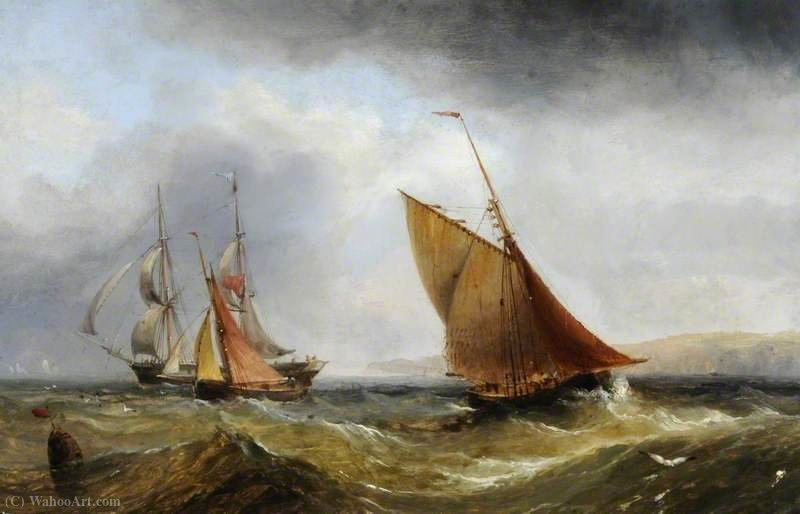 Ships off the Coast by Henry Redmore (1820-1887, United Kingdom) | Oil Painting | ArtsDot.com