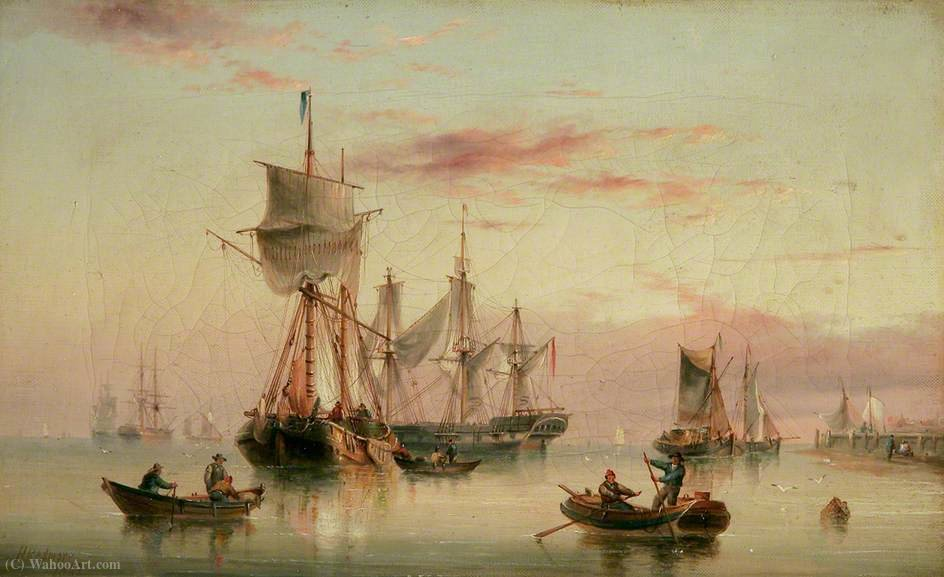 Order Oil Painting : Vessels at Sea by Henry Redmore (1820-1887, United Kingdom) | ArtsDot.com
