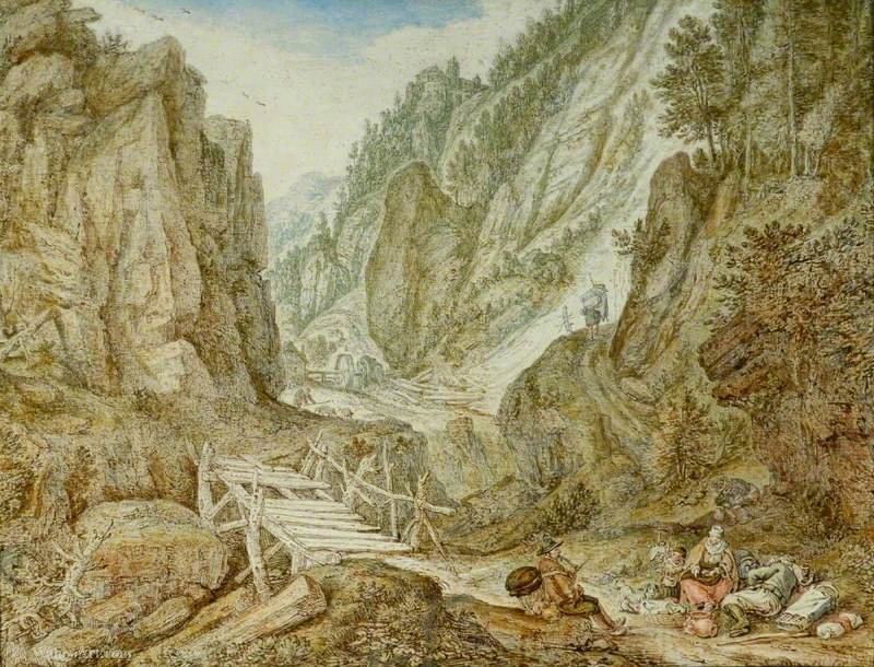 Mountainous landscape by Herman Saftleven The Younger (1609-1685) | Painting Copy | ArtsDot.com