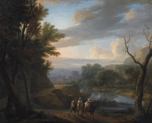 Herman Van Swanevelt - An italianate wooded landscape with travellers on a path along the riverside