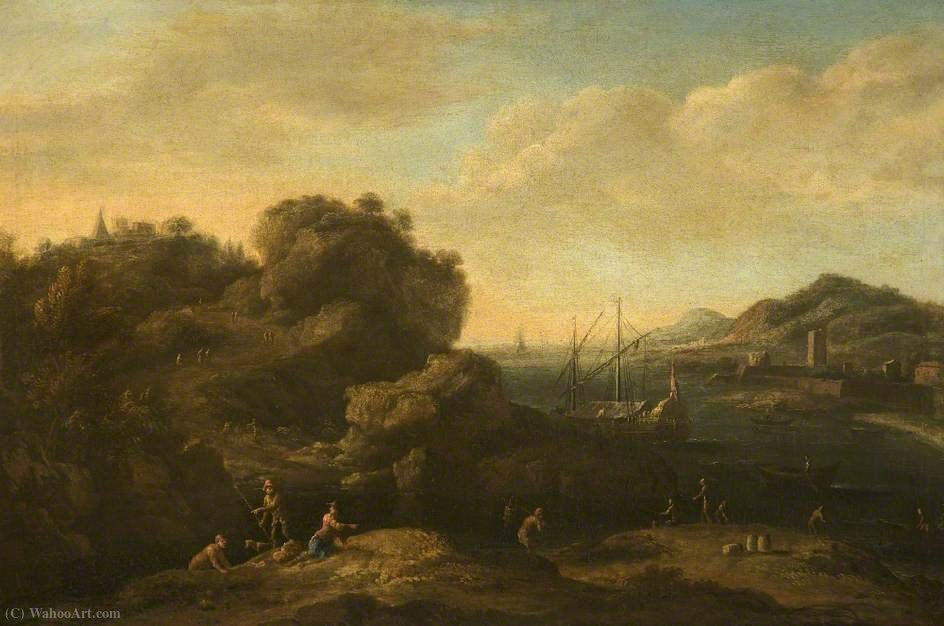 A Rocky Mediterranean Coast with Peasants and a Galley by Jacob De Heusch (1656-1701, Netherlands)