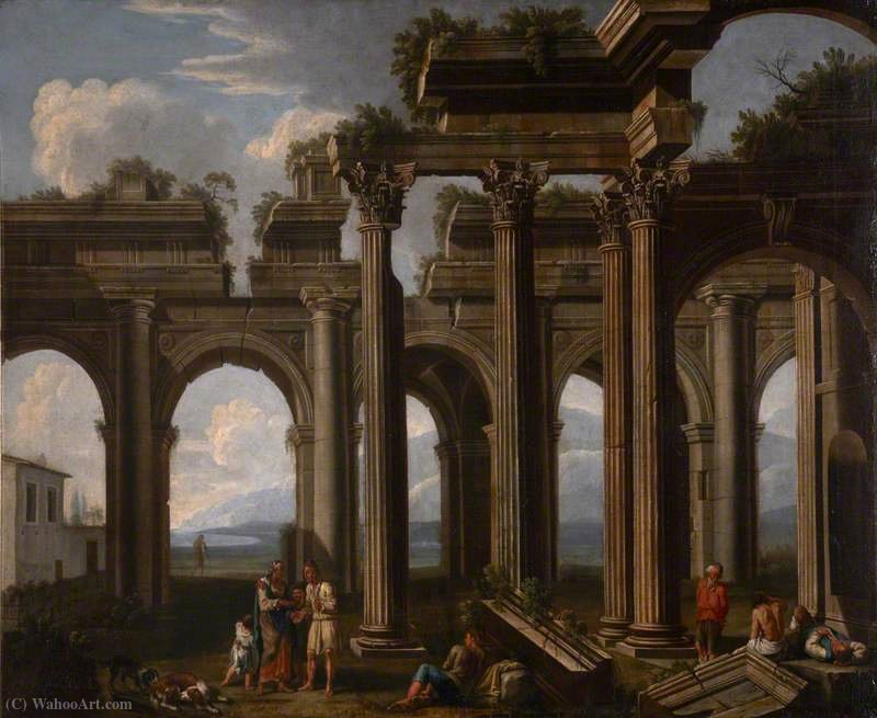 Architectural Capriccio, with the Ruins of a Doric Arcade and Corinthian Colonnade, with Lazzaroni and a Fortune-Teller by Jacob De Heusch (1656-1701, Netherlands) | Art Reproduction | ArtsDot.com