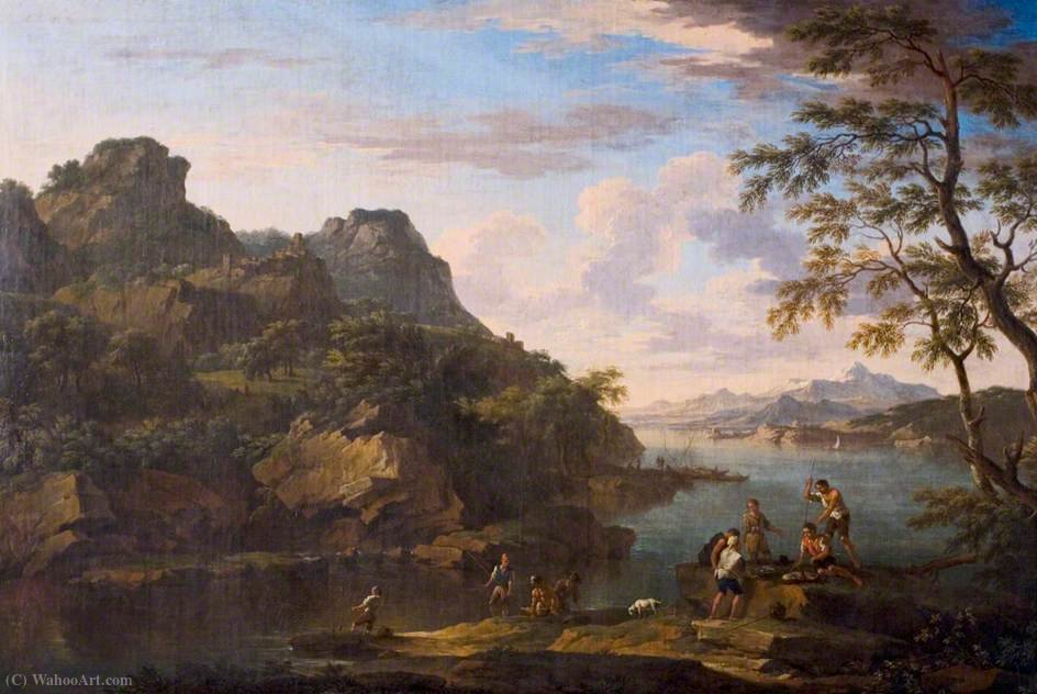 Classical Landscape with Figures by Jacob De Heusch (1656-1701, Netherlands)