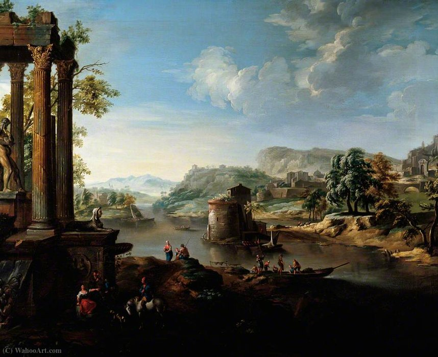 Classical Landscape with River and Figures by Jacob De Heusch (1656-1701, Netherlands)
