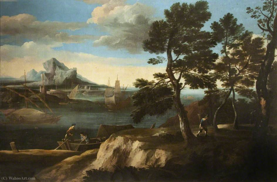 River Landscape with Figures in a Boat by Jacob De Heusch (1656-1701, Netherlands)