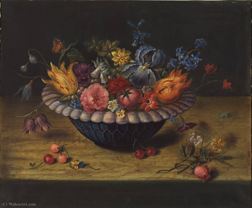 Bowl of flowers by Jacob Marrel (1614-1681, Germany)