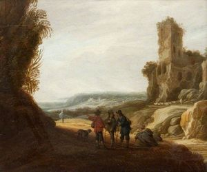 Jacob Van Der Ulft - Landscape with Figures and a Ruined Castle