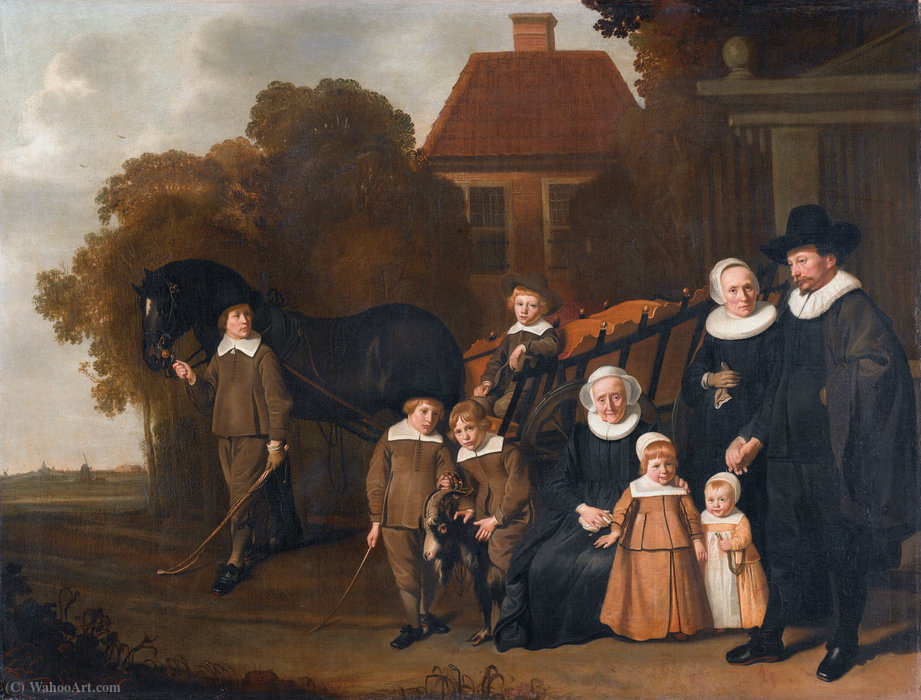 Portrait of the Meebeeck Cruywagen family near the gate of their country home on the Uitweg near Amsterdam. by Jacob Van Loo (1614-1670, Netherlands) | ArtsDot.com