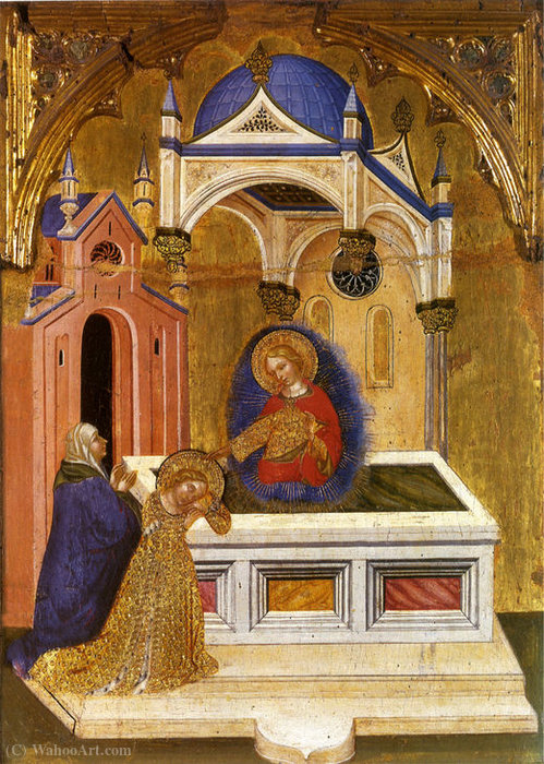 Saint Lucia to the tomb of St. Agatha by Jacobello Del Fiore (1370-1439, Italy)