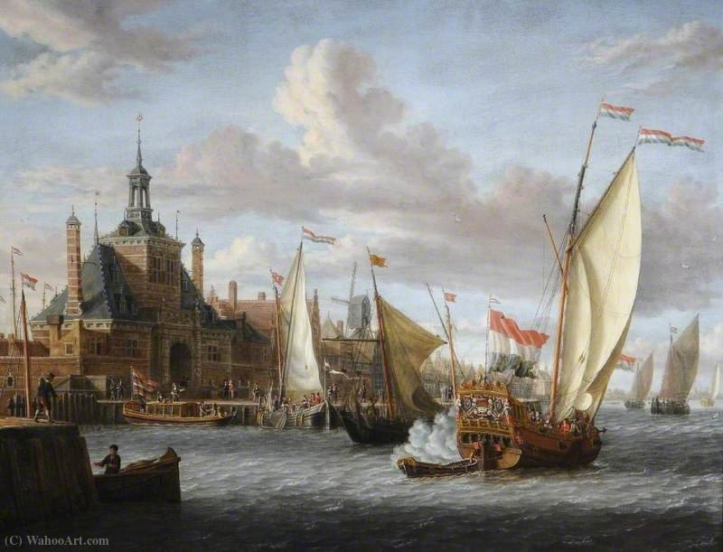 A Zeeland States Yacht Firing a Salute off the Oude Hooftdpoort, Rotterdam, The Netherlands by Jacobus Storck (1641-1692, Netherlands) | Oil Painting | ArtsDot.com