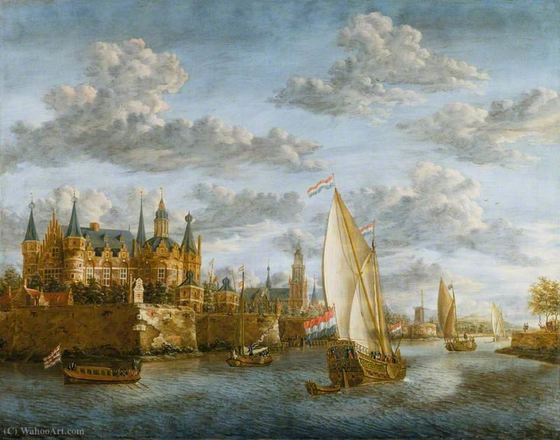 Castle on a River in Holland by Jacobus Storck (1641-1692, Netherlands) | Museum Art Reproductions | ArtsDot.com