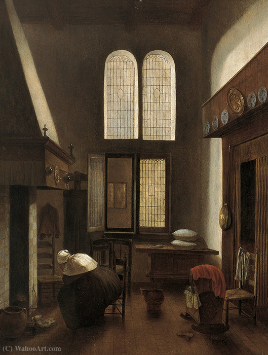 Interior with a Woman Seated by a Hearth by Jacobus Vrel (1617-1681, Netherlands) | Museum Art Reproductions Jacobus Vrel | ArtsDot.com