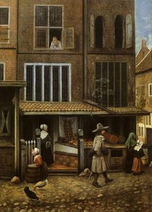 Jacobus Vrel - Street Scene with bakery