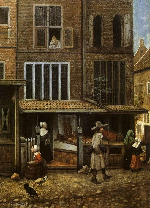 Street Scene with bakery by Jacobus Vrel (1617-1681, Netherlands) | Paintings Reproductions Jacobus Vrel | ArtsDot.com