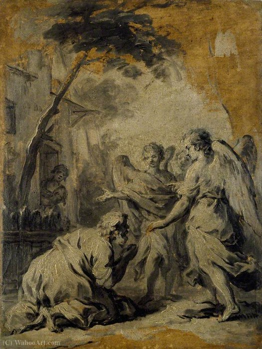 Abraham and the three Angels by Jacopo Amigoni (1682-1752, Italy)