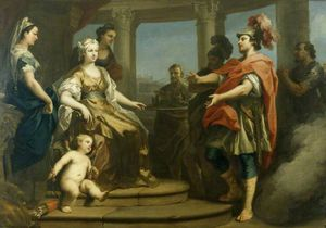 Jacopo Amigoni - Aeneas and Achates Wafted in a Cloud before Dido, Queen of Carthage, with Cupid at Her Feet