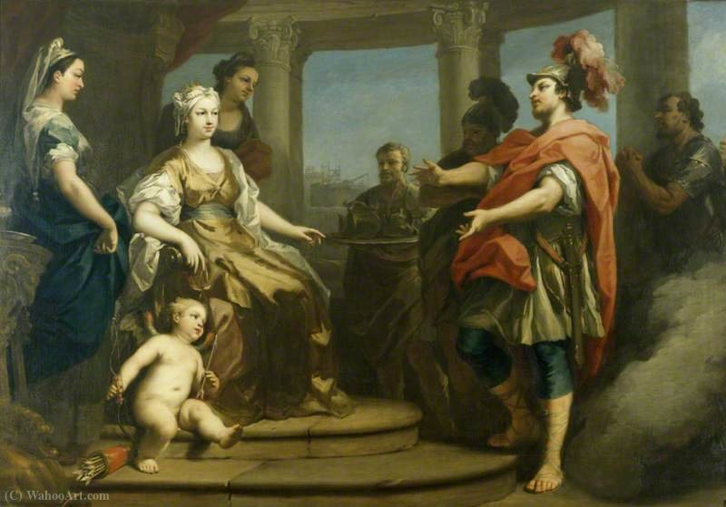 Aeneas and Achates Wafted in a Cloud before Dido, Queen of Carthage, with Cupid at Her Feet by Jacopo Amigoni (1682-1752, Italy) | ArtsDot.com