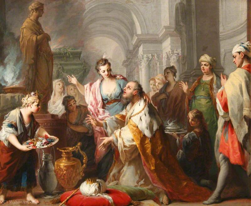 Solomon Sacrificing to His Wives` Idols by Jacopo Amigoni (1682-1752, Italy) | Museum Quality Reproductions | ArtsDot.com