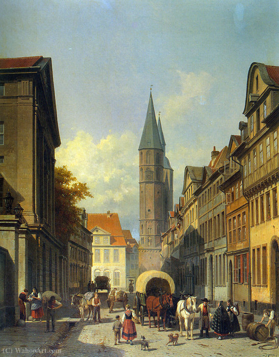 A Busy Street in a German Town by Jacques François Carabain (1834-1933)